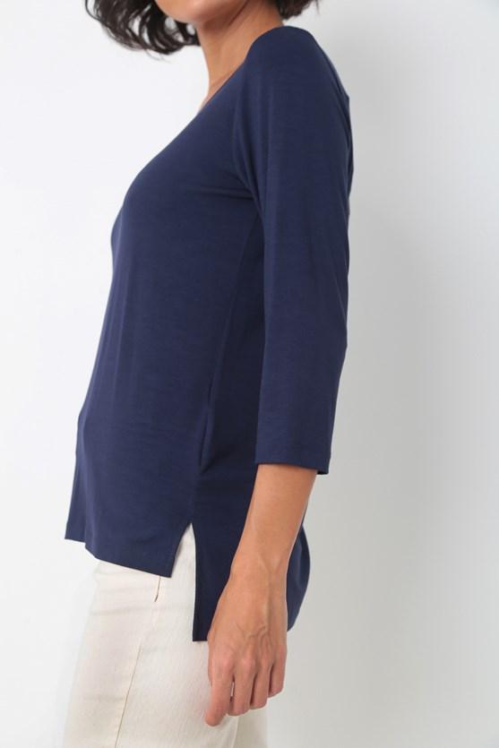 Blusa manga 3/4 viscolycra azul marinho