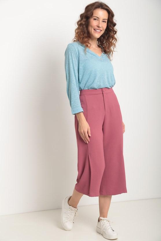 Blusa manga 7/8 pregas frente e costas azul