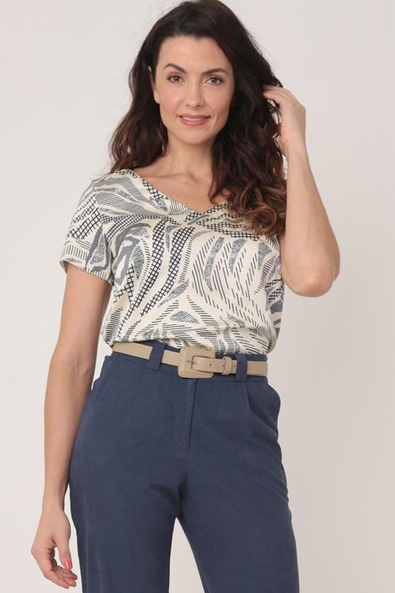 Blusa manga curta crepe traços e movimento off white