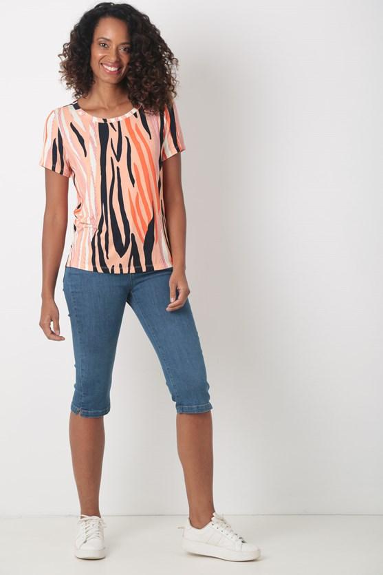 Blusa manga curta decote á fio viscolycra abstrata rs claro