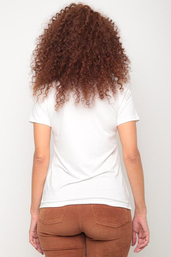 Blusa manga curta decote redondo off white