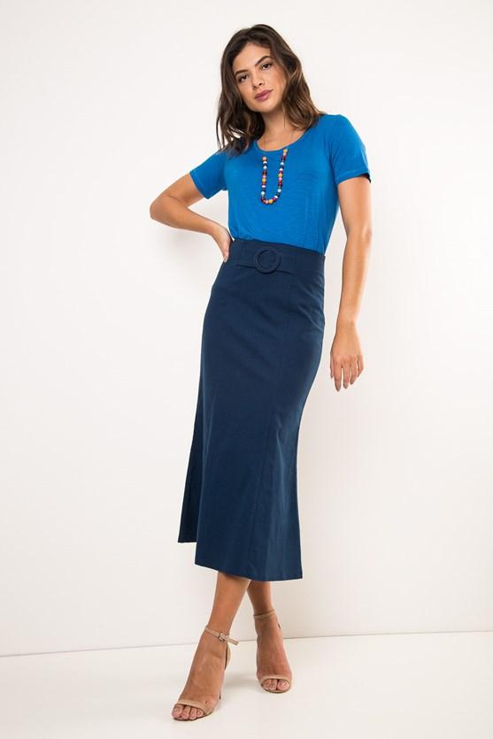Blusa manga curta decote u flamê viscose azul