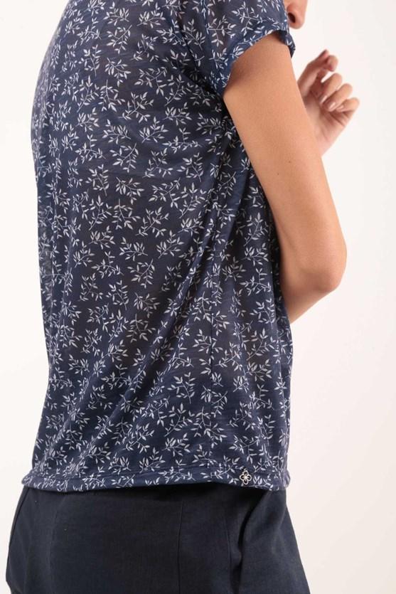 Blusa Manga Curta Decote U Flores Bicolor