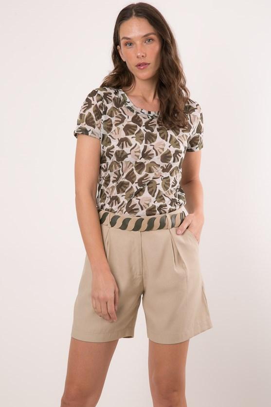 Blusa manga curta decote u folhas verde militar