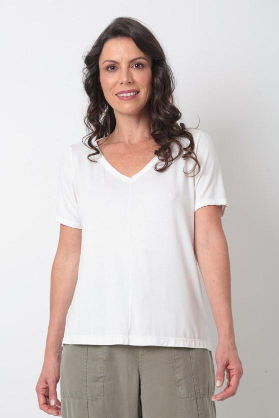 Blusa manga curta decote v á fio recorte  off white
