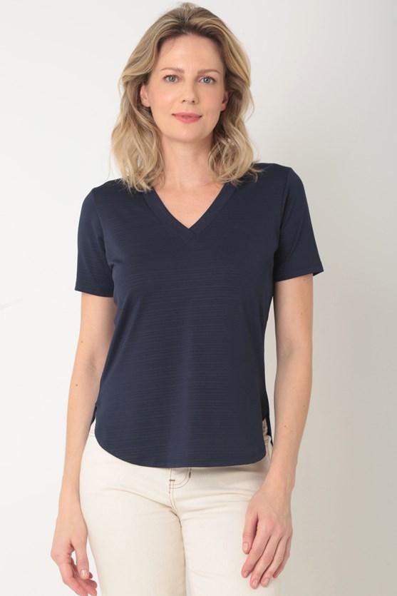Blusa manga curta decote v barra fraldada azul marinho