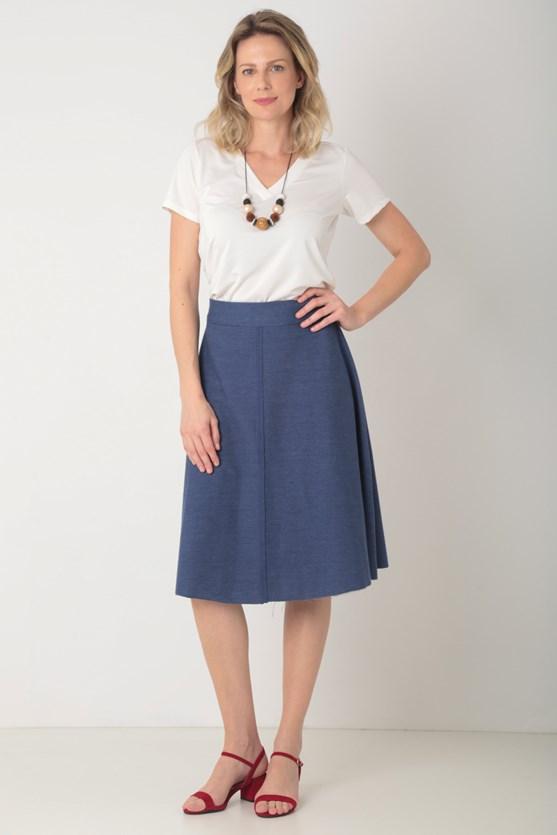 Blusa manga curta decote v barra fraldada off white