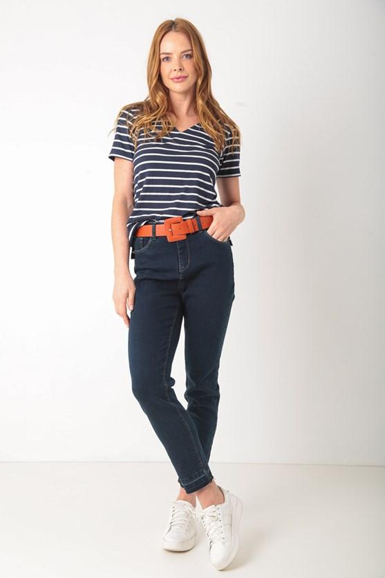 Blusa manga curta decote v listrada azul marinho