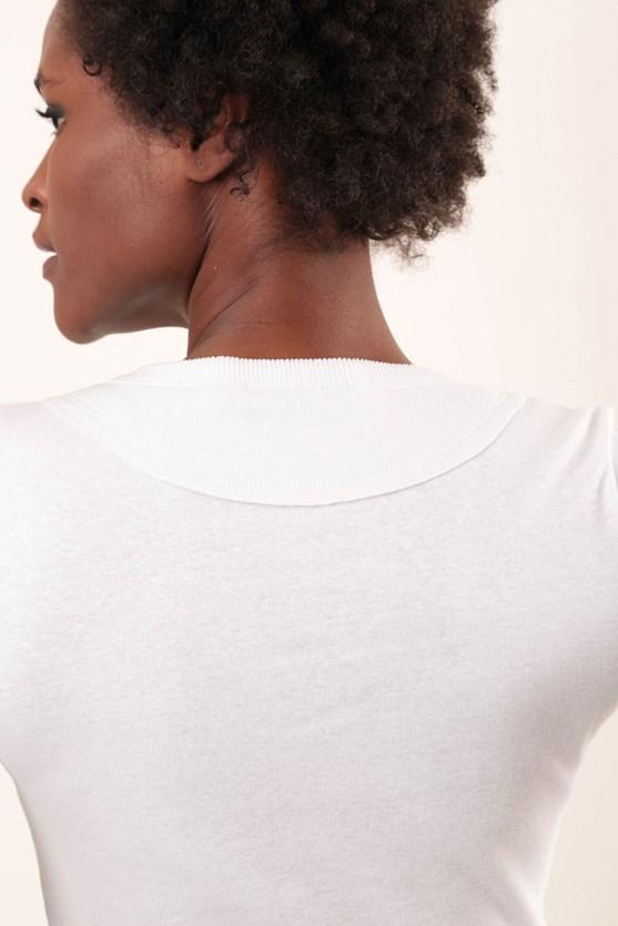 Blusa manga curta decote v malha algodão cz mescla