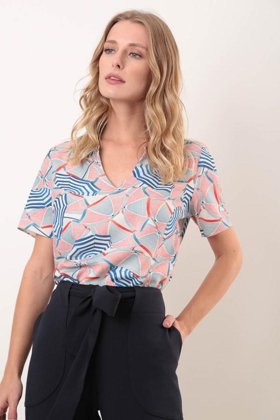 Blusa manga curta decote v modal guarda sol az maré