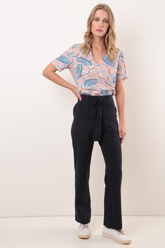 Blusa manga curta decote v modal guarda sol azul