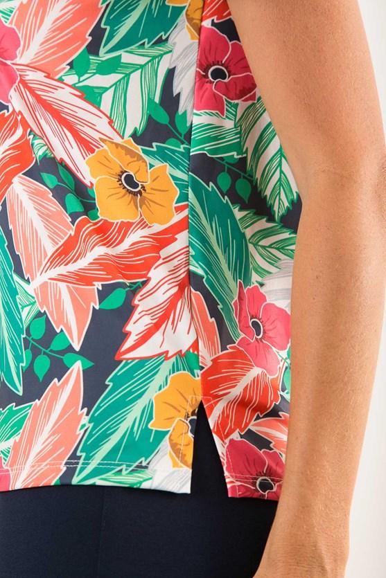 Blusa manga curta decote v rolotê jersey encanto tropical azul marinho