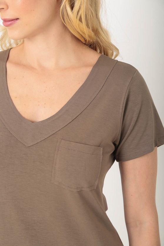 Blusa manga curta decote v sobreposto a fio caqui