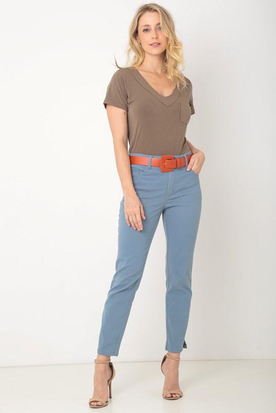 Blusa manga curta decote v sobreposto a fio cq caqui