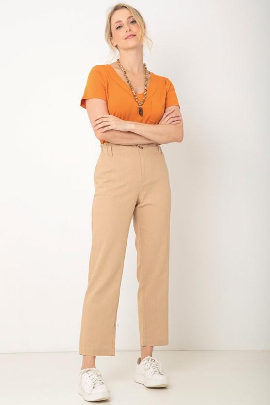 Blusa manga curta decote v sobreposto a fio lj laranja