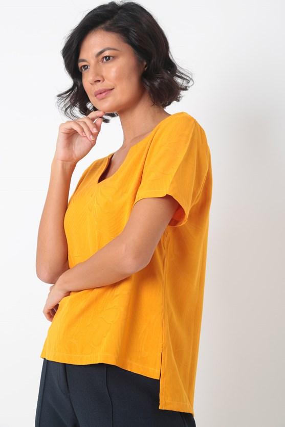 Blusa manga curta decote v viscose laranja