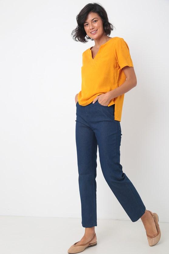 Blusa manga curta decote v viscose lj laranja