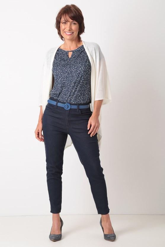 Blusa manga curta detalhe decote reflexo azul marinho