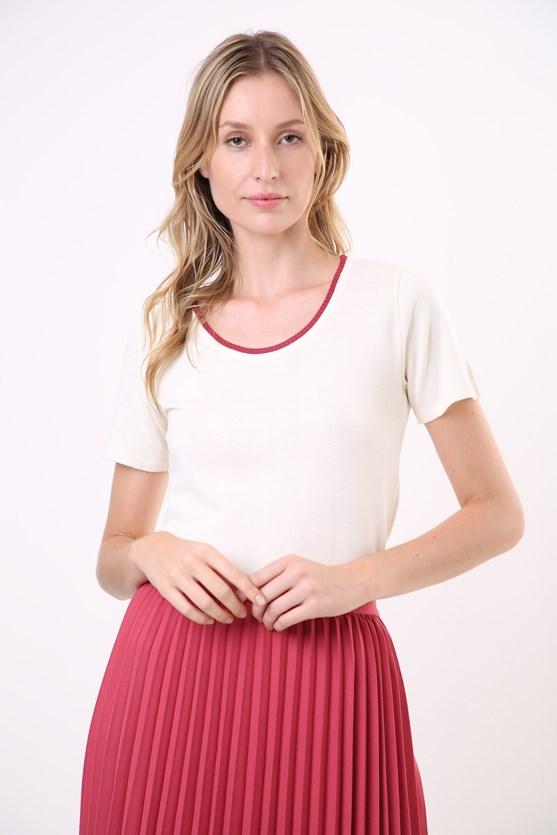 Blusa manga curta detalhe decote tricot cz mescla