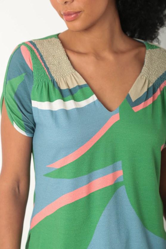 Blusa manga curta lastex estampa movimento verde