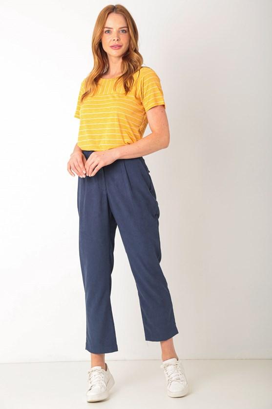 Blusa manga curta listras laranja