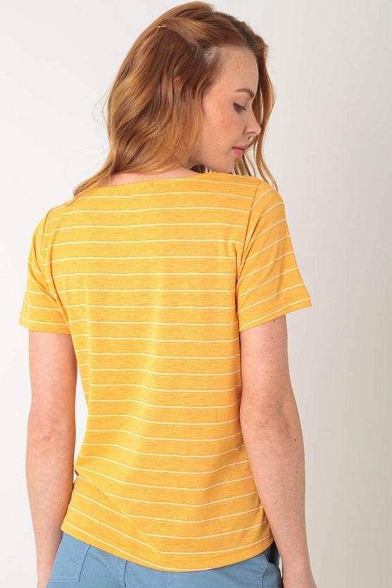 Blusa manga curta listras lj laranja