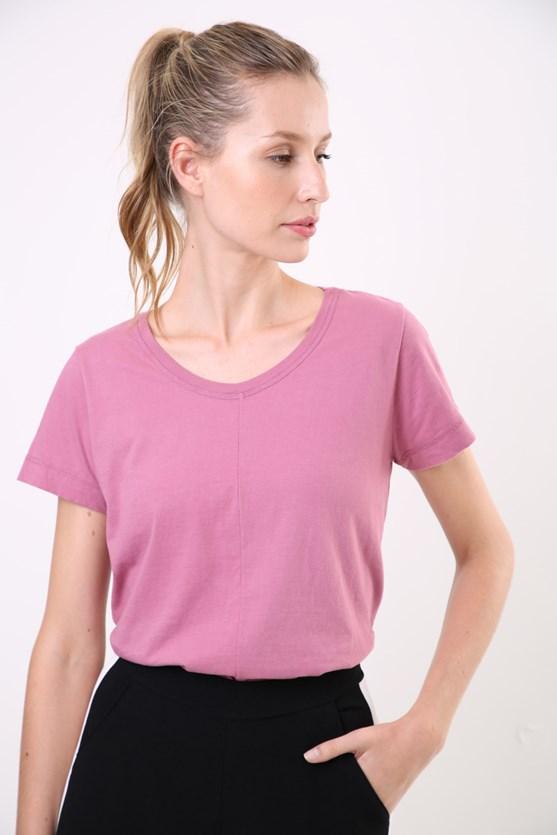 Blusa manga curta malha algodão tinturada movimento