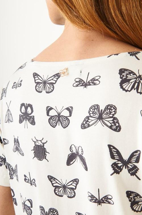 Blusa Manga Curta Mariposa