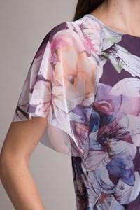 Blusa Manga Curta Tule Flores Hibisco