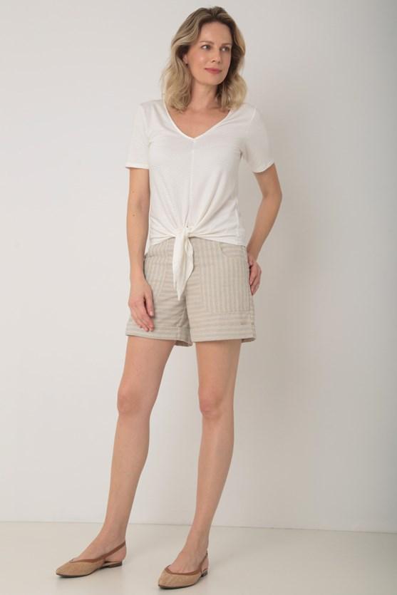 Blusa manga curta viscolycra amarração frente off white