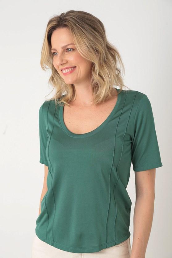 Blusa manga curta viscose com friso vd esmeralda