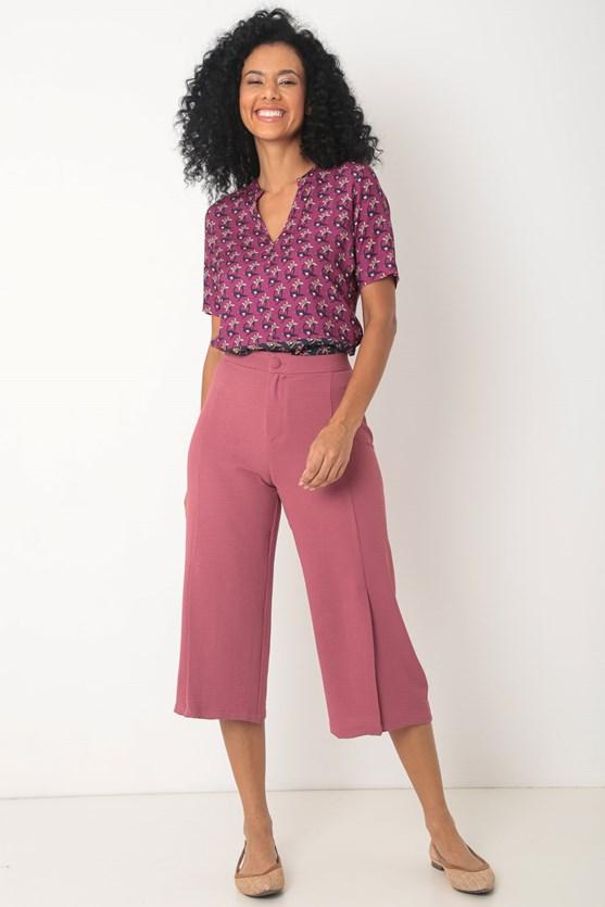 Blusa manga curta viscose composê mini flores rosa