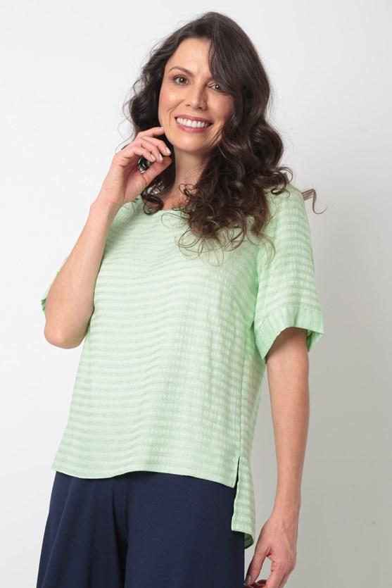Blusa manga curta viscose e liocel verde