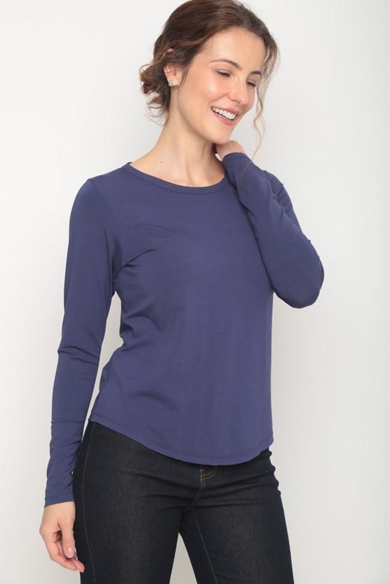 Blusa manga longa basica decote redondo azul marinho
