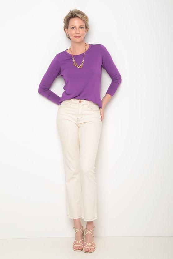 Blusa manga longa basica decote redondo roxo vivo