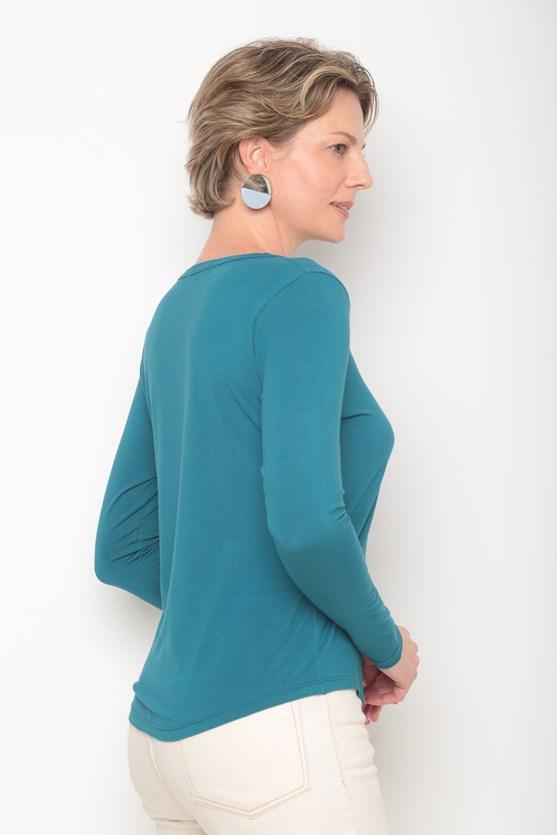 Blusa manga longa basica decote redondo verde