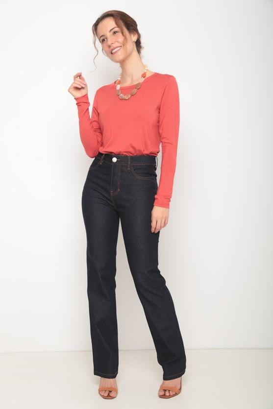 Blusa manga longa basica decote redondo vermelho