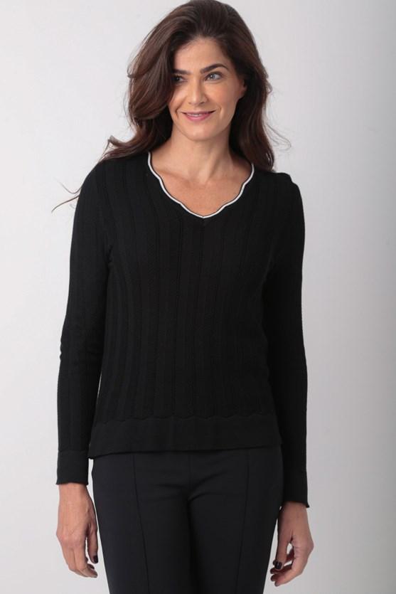 Blusa manga longa decote v viscose preto