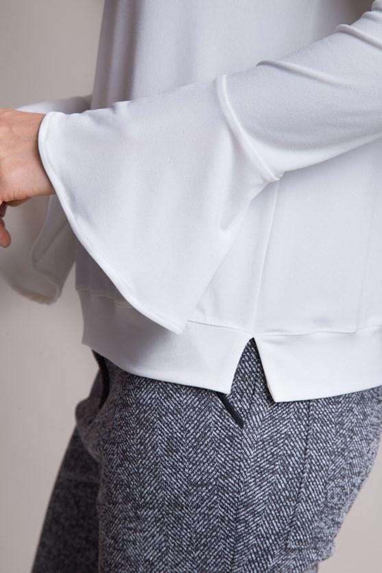 Blusa manga longa flare em malha it span  off white