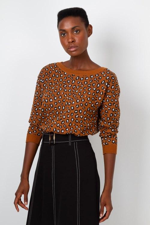 Blusa Manga Longa Retilínea Leopardo