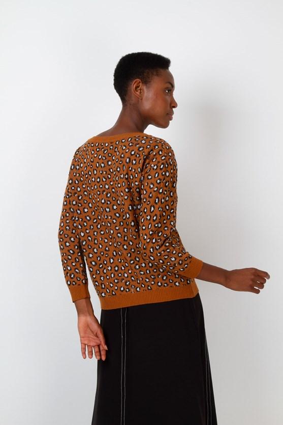 Blusa manga longa retilínea leopardo walnut