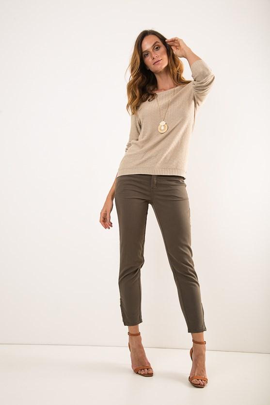 Blusa manga longa tricot flamê bg areia