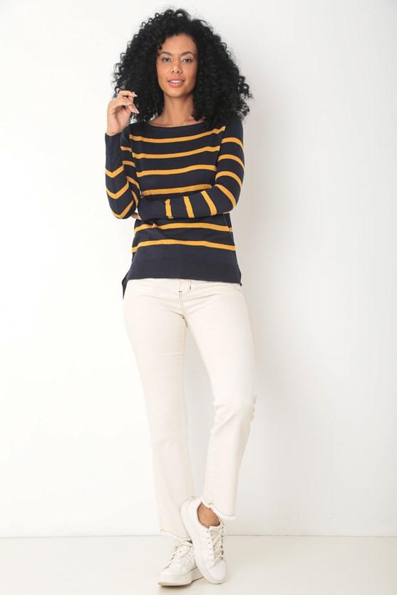 Blusa manga longa tricot listrada azul marinho