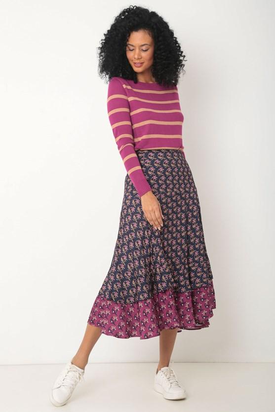 Blusa manga longa tricot listrada rosa