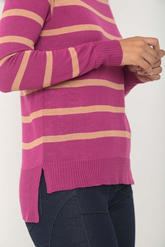 Blusa manga longa tricot listrada rs fucsia