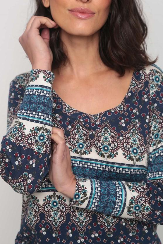Blusa punho florzinhas e arabescos azul marinho
