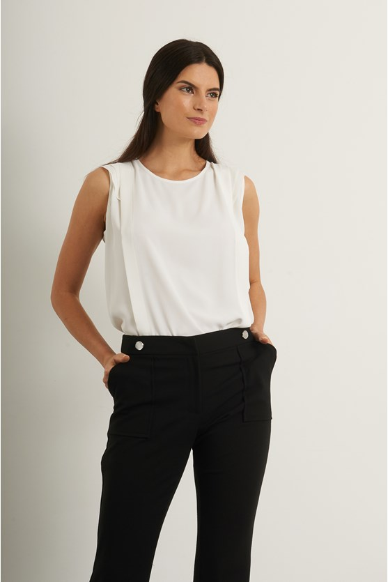 Blusa recorte e manga dupla crepe  off white