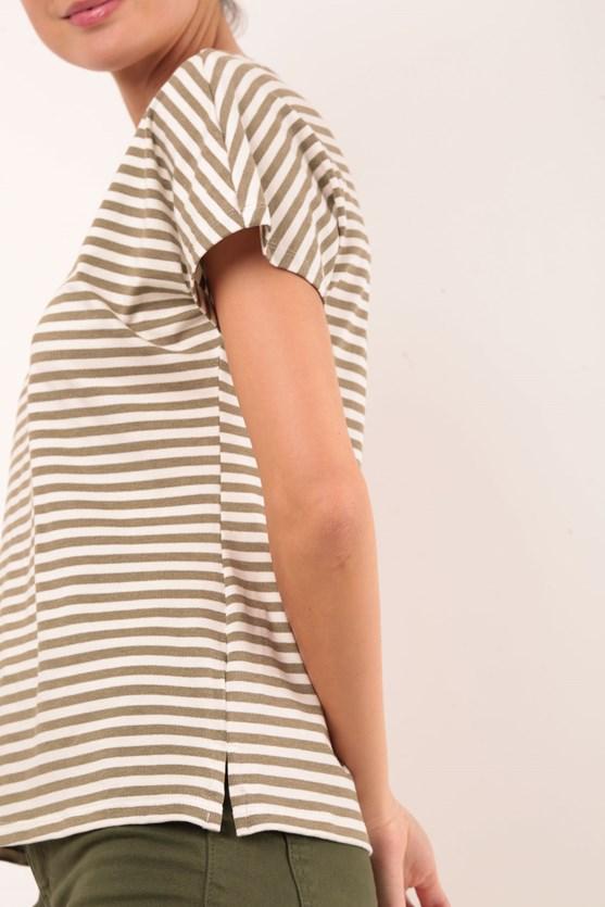 Blusa Sem Cava Decote Duplo Malha Viscose Listrada