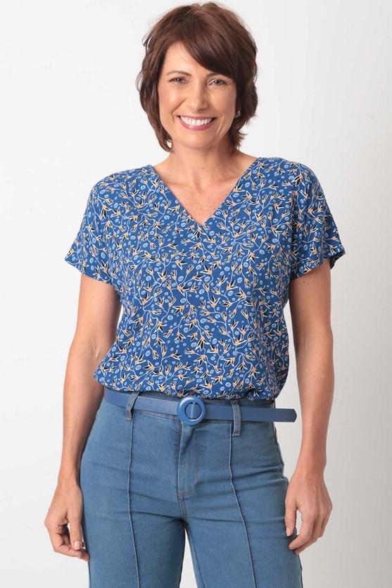 Produto Blusa Sem Cava Decote V Viscose Flores
