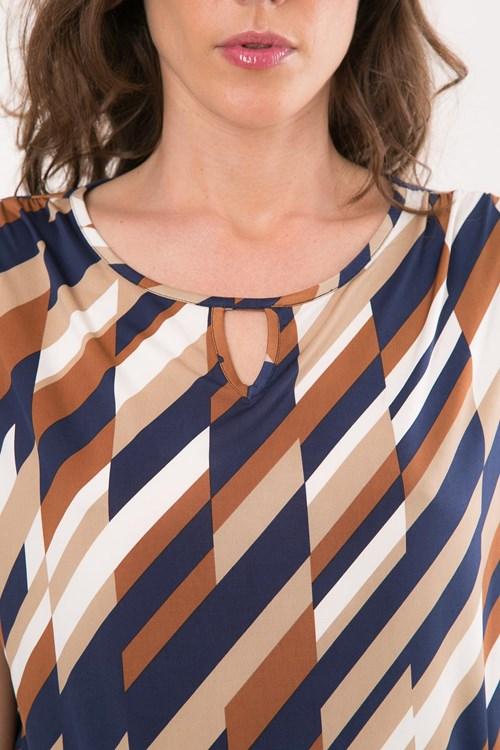 Blusa Sem Cava Jersey Geométrico